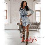 Женское платье купить в интернет магазине Lady's club.ru короткое джинсовое синее