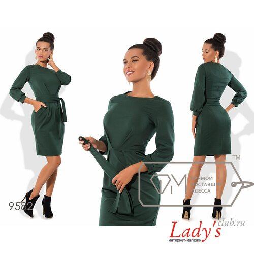 В наличии 42-44 короткое зеленое миди платье футляр Фабрика Моды lcl9582