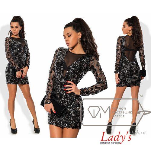В наличии 42-44 короткое нарядное мини платье с пайетками Фабрика Моды lcl8331